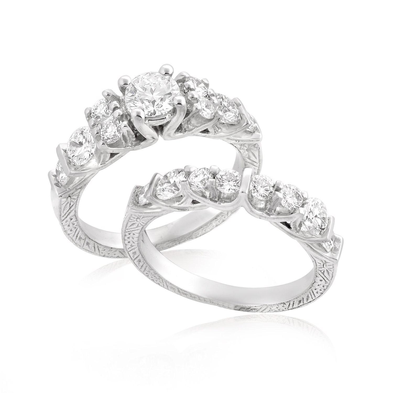 Unique Wedding Rings: Unique Braided Ring Bridal Set 14K White Gold Engagement