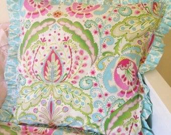 Kumari Garden Teja Pink and Tarika Blue Euro Sham