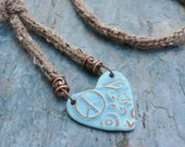 Long Heart Necklace Hand Knitted in Taupe Wool Alpaca Yarn with Light Blue Clay Heart Pendant and Antique Copper Beads