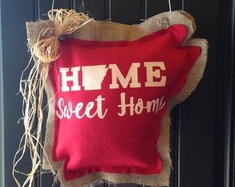 Home Sweet Home Arkansas Door Hanger, Door Hanger, Arkansas, Arkansas Door Hanger, Ready To Ship, Burlap Door Hanger, State Door Hanger,