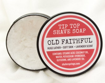 Old Faithful Shaving Soap - All Natural Shaving Soap Cream with Lavender Scent - Handmade Shave Soap Made in Small Batches on Our TN Farm