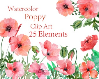 Watercolor Poppy flowers clipart Watercolor Floral clipart Red floral clipart Wedding invitation Red flowers Wedding Clip Art Handpainted