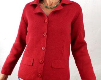 Vintage Classic Dark Red 100% Merino Wool Cardigan  Size S - M