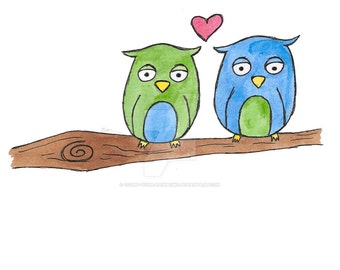 Love Birds Watercolour and Ink Print Digital Download File