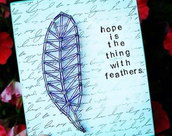 MADE TO ORDER Hope And Feather Mixed Media String Art Sign