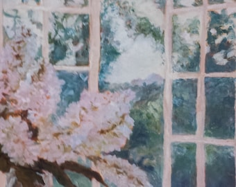 Morning has Broken.  14x18 still life oil painting.  Flowers. Windows. Landscape