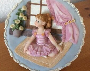 Vintage Ceramic Plate Ballerina Girl
