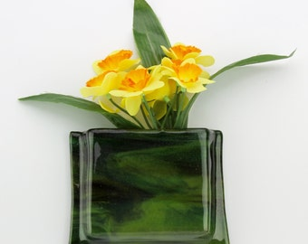 Green glass hanging notepad holder - Green glass hanging wall flower vase - Green glass hanging pen and paper holder