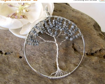SALE Tree of Life Pendant, Grey Rough Diamond and Sterling Silver Wire Tree Pendant, Wire Wrapped April Birthstone Necklace