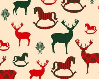 Traditional Reindeer and Rocking Horse Christmas Cotton Fabric