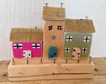 Miniature wooden houses-handmade shabby chic rustic-reclaimed wood-freepost