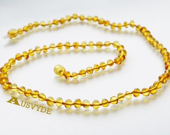 Baltic amber dark yellow necklace. Long necklace. Yellow Amber. Baroque style. Knotted. 51 cm (~20 inch). 5106