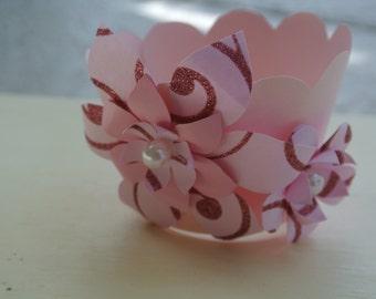 Pink cupcake wrapper, cupcake wrapper, flower cupcake wrapper