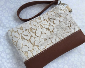 Vanilla Creme Lace with Faux Leather