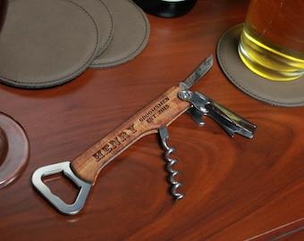 Engraved Bottle Opener, Custom Bottle Opener, Engraved Wood Bottle Opener,Personalized Bottle Opener, Engraved Wine Opener --BO-WOOD-henry