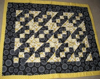 Yellow and Black Quilt Throw