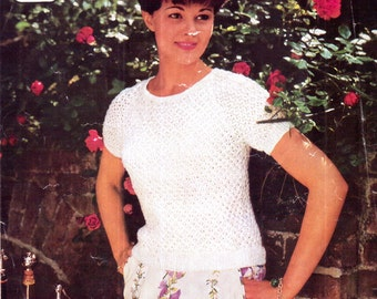 Genuine Vintage 1960s PENGOUIN 350 Ladies Intricate LACY Short Sleeved Fitted Sweater Knitting Pattern Very Retro in style
