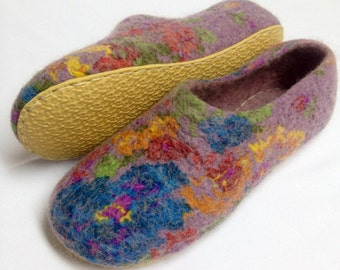Sale-22% OFf Women house shoes, Felted wool slippers, woolen clogs, handmade slippers, Mothers day gift