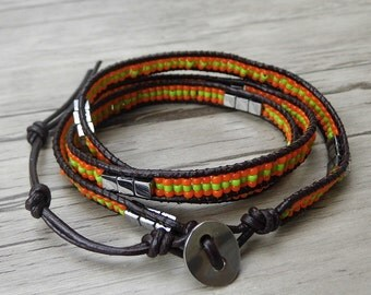 Orange Seed bead bracelet bead wrap bracelet leather wrap bracelet tiny bead bracelet 3 wraps bracelet yoga bracelet bead jewelry SL-0409