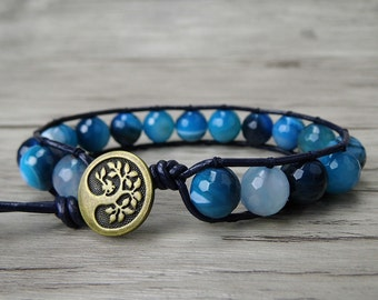 beaded wrap bracelet blue agate bracelet leather wrap bracelet boho bracelet gypsy yoga bohemian bracelet natural stones bracelet SL-0181