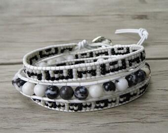beaded Wrap Bracelet boho leather bracelet seed bead bracelet  womens wrap bracelet zebra stone beads bracelet gemstones bracelet SL-0243