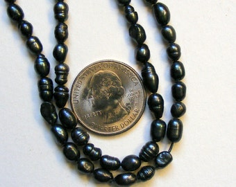 Organic Circled Ringed Cultured Pearl Black Grass Rice 6 mm One Strand 50 Pearls