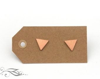 Rosé mini triangles - hand-soldered earrings 9 mm copper and stainless steel