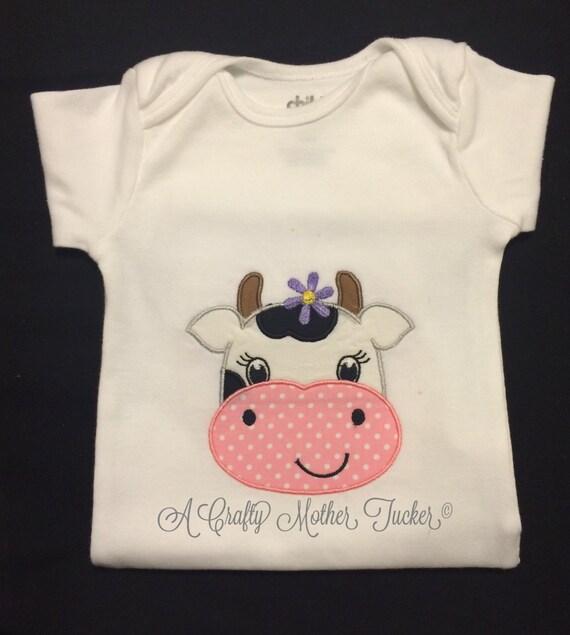 Girl cow applique shirt for Applique shirts for sale