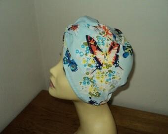 beautiful butterfly print hat turban hijab hair covered Chemo size 60 cm Turban-Headband-Great-Gatsby-1920s style
