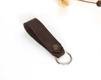 Leather key chain handmade key fob leather keychain travel gift for him leather keyring