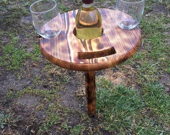 Outdoor wooden wine bottle/glass holder