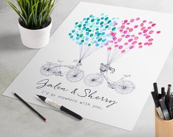 Bicycles Wedding Guest Book: fingerprint guest book for wedding like fingerprint tree. thumbprint tree, guest book alternative, sign-in book