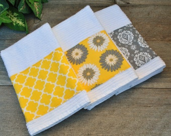 Set of 3 Yellow and Gray Fabric Trimmed Bar Mop Dish Towels
