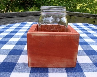 Centerpiece Box - Mason Jar Holder, 1-jar Size - Orange - Organizer, Gift Box
