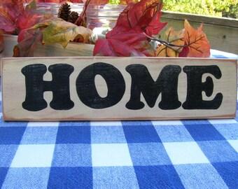 HOME Wood Sign - Shelf Decoration - Cream and Black Sign