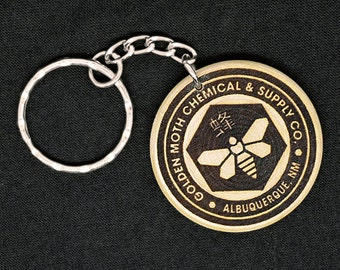 Golden Moth Chemical Company Hand Made Engraved Wood Keyring Keychain