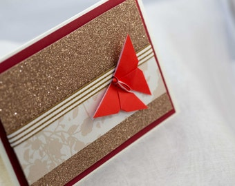 Origami Butterfly Greeting Card / Handmade greeting card/ Japanese paper/ Origami greeting card / Yuzen/  Chiyogami/ Handmade Card