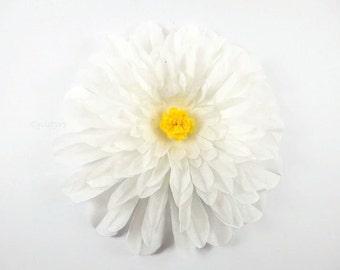 3 WhiteTissue paper dahlia, Large Tissue Paper flower backdrop, wedding flower backdrop,  baby nursery decor, wedding decor, photo props