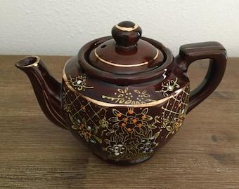 Brown Hand Painted Japanese Tea Pot; Japanese Teapot; Redware Teapot; Moriage Pattern Teapot; Vintage Teapot