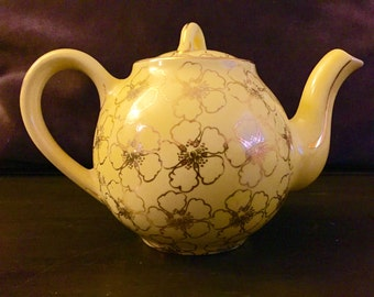 Hall Teapot; Canary Yellow Gold Hall Teapot; Floral Teapot; Vintage Teapot; 22k Gold Trim Teapot; Yellow Teapot