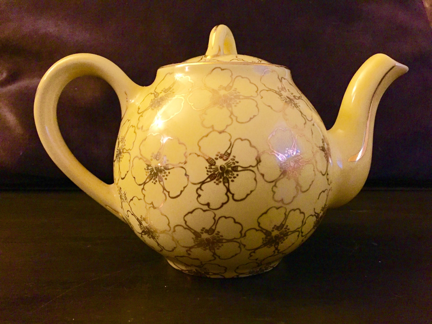 Hall Teapot Canary Yellow Gold Hall Teapot Floral Teapot