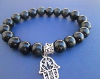 Blue dark Tiger eye bracelet,Gemstone bracelet,Woman bracelet,Pendant Hamsa,hand of Fatima,Tibetan silver,Sterling silver,Gift for woman