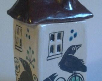 Handmade ceramic crow cottage
