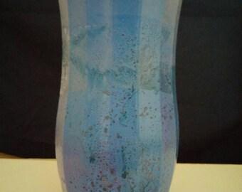 Large Blue Vase/Blue Gray Vase/Hand Painted Blue Gray Vase/Modern Blue Bathroom Vase/ Large Gray Blue Vase/Housewarming Vase/Blue Decor