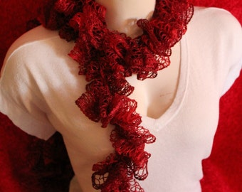 SALE Sashay, ruffle scarf, ruby red, fashion scarf, gifts under 15 dollars, Christmas scarf, gift ideas, ladies night, gifts for her
