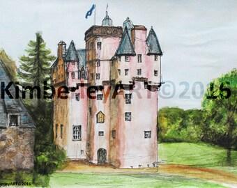 Scottish Castle Print, Craigievar Castle Print Scottish Castle Painting, Scottish Architecture Print, Castle Painting, Castle Art
