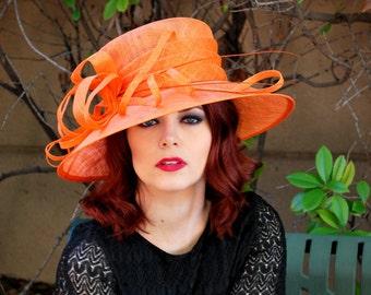 Orange Derby Hat, Church hat, Tea Party Hat, Blue Hat, Formal Hat, Fashion Hat, Church Hat, Derby Hat