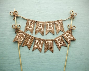 Baby Shower Cake Topper, Burlap Cake Topper, Rustic Baby Shower Cake Topper, Personalized Baby Shower Cake Topper, Baby Name Banner Cake Top