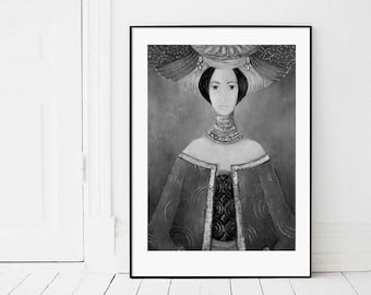 Vintage women print, contemporary art,figure painting, rustic home decor,wall art, female painting, poster, digital image