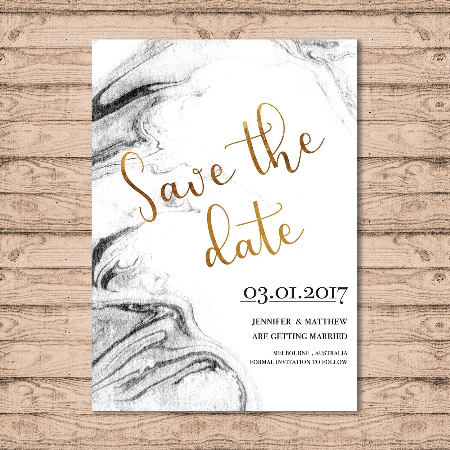 Marble Wedding Save The Date Card